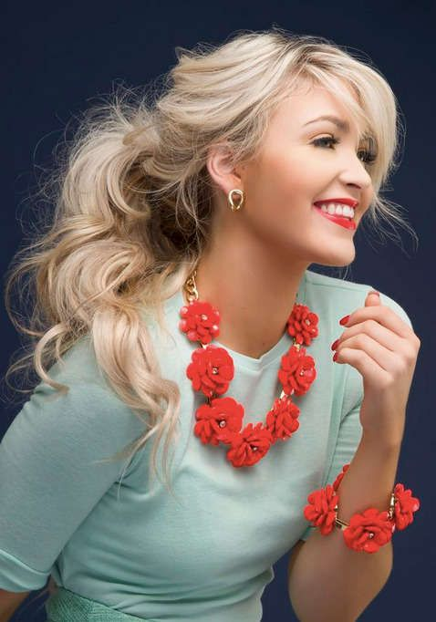 mint top + coral jewelry