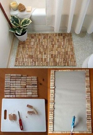 Tapete de baño, encuentra más manualidades con corchos en... http://www.1001consejos.com/manualidades-con-corchos/