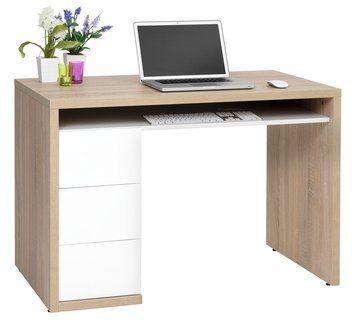 Skrivebord LANGESKOV hvit høyglans/eik | JYSK