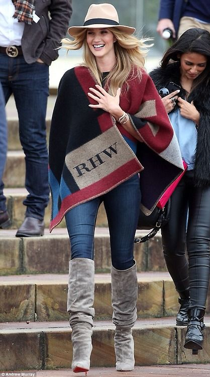 Sidney 26-August 2014-Rosie Huntington-Whiteley.    Love this look-the blanket jacket is gorg!