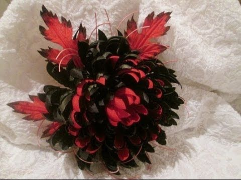 "Цветок из ткани хризантема. Брошь ""Black and Rеd"" своими руками .Мастер..."