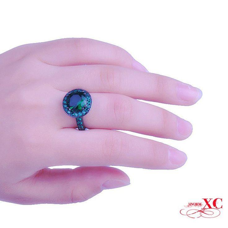 Распродажа изящных ювелирных изделий свадьба палец кольца женская мужская мода изумруд сапфир AAA циркон шляпа анель 18 каратного белого черный кольцо R6F3122, принадлежащий категории Кольца и относящийся к Ювелирные изделия на сайте AliExpress.com | Alibaba Group