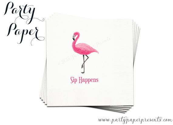 50 Let's Flamingle Flamingo Party Napkins  by PartyPaperPresents