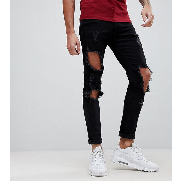 Brooklyn Supply Co Super Skinny Jeans With Heavy Distressing ($73) ❤ liked on Polyvore featuring men's fashion, men's clothing, men's jeans, blue, mens super skinny jeans, mens ripped skinny jeans, mens urban jeans, mens skinny jeans and mens distressed jeans