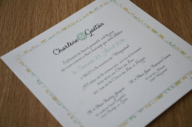 Faire part Champêtre Corail et Fresh mint - Création unique réalisée pour Charlène et Gaetan