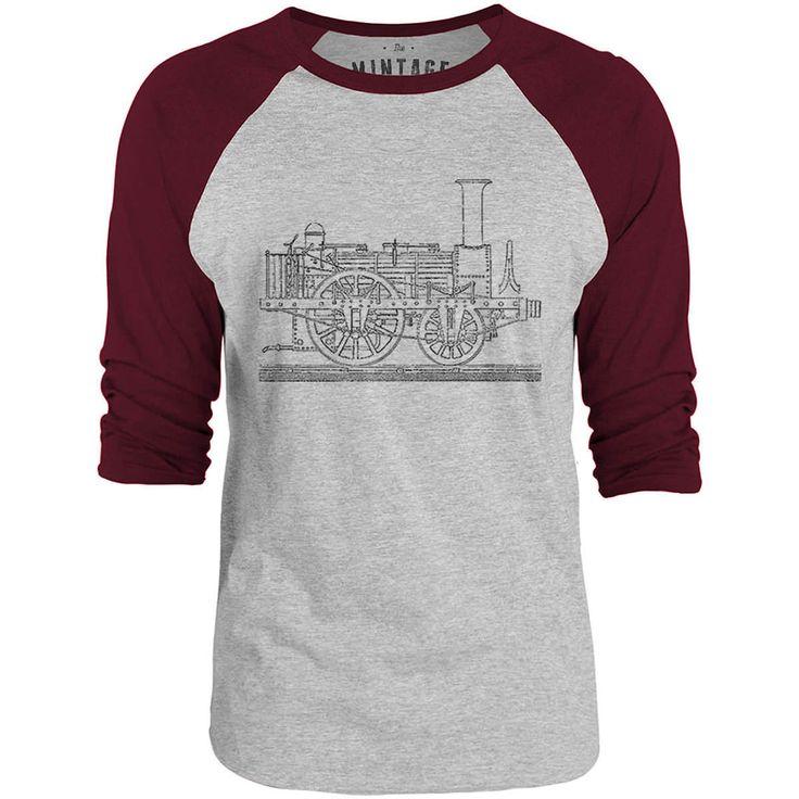 Mintage Steam Tram Blueprint 3/4-Sleeve Raglan Baseball T-Shirt (Grey Marle / Bordeaux)
