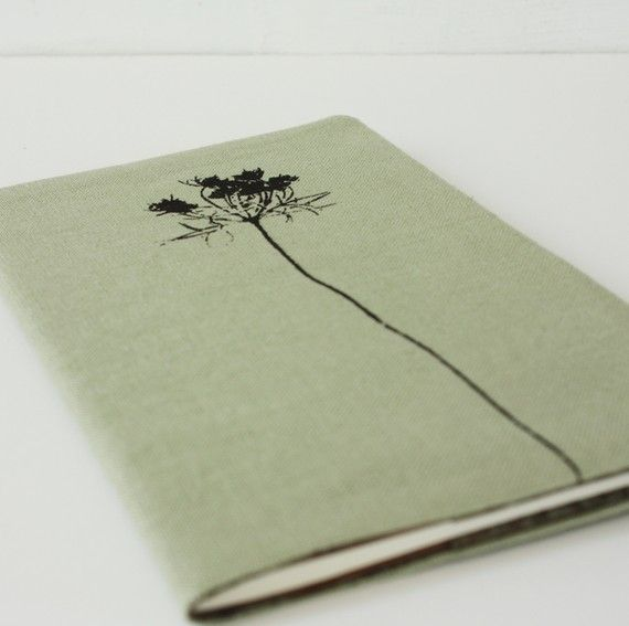 sage green queen anne's lace notebook cover. I want this.