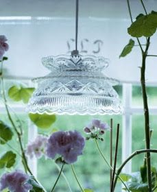 candy dish transformed into a light fixture- brilliant!