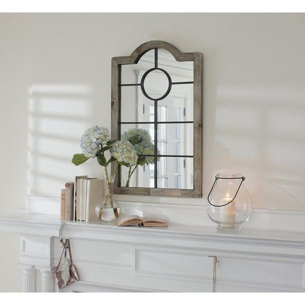 Threshold Arched Windowpane Mirror Dining Room
