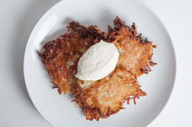 How To Make Crispy, Delicious Latkes (Jewish Potato Pancakes, Traditional for Hanukkah) - Recipe   Herbivoracious - Vegetarian Recipe Blog - Easy Vegetarian Recipes, Vegetarian Cookbook, Kosher Recipes, Meatless Recipes