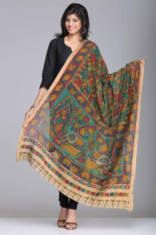 Kalamkari Sarees | Stunning Multicolored Chanderi Dupatta With Peacock Motifs And A Gold Zari Border | IndiaInMyBag.com