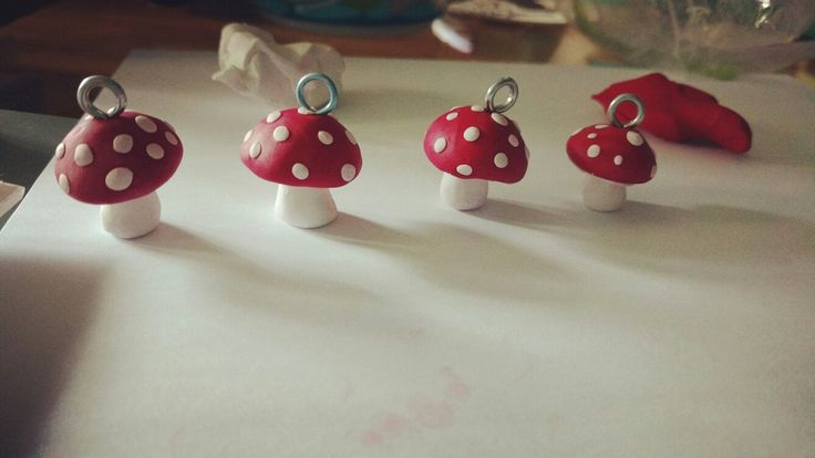 Handmade polymer clay mushrooms