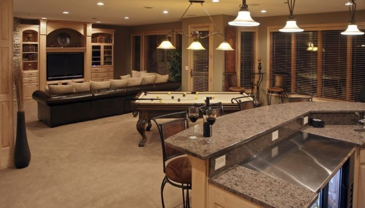 Architecture:Coolest Basement Finishing Ideas With Kitchen Island Feat Granite Countertops And Kitchen Bar With Bar Stools Also Pendant Lighting And Billiards Plus Ceiling Lights Curtains And Drapes With Sofas And Flat Screen Tv The Coolest Basement Finishing Ideas for Your On – going Remodeling Basement