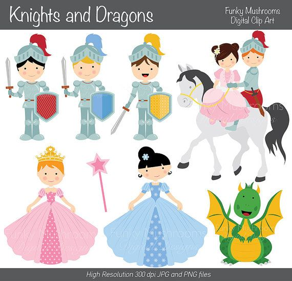Digital Clipart  Knights and Dragons for by funkymushrooms on Etsy, €2.80