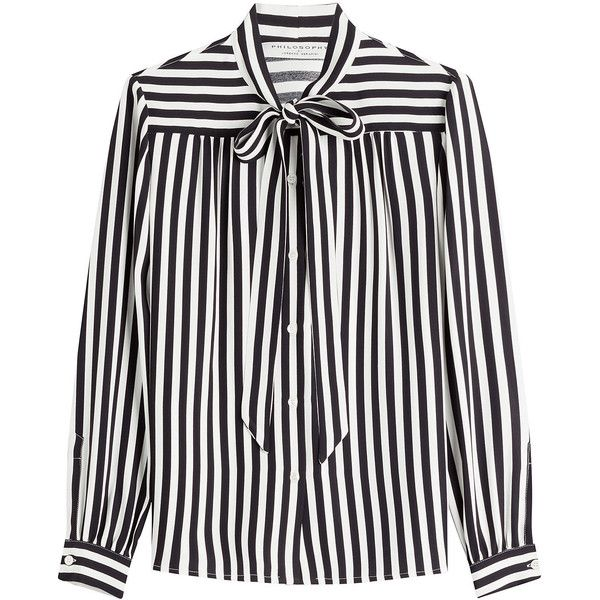 Philosophy di Lorenzo Serafini Striped Blouse (£237) ❤ liked on Polyvore featuring tops, blouses, shirts, stripes, striped shirt, stripe shirt, stripe top, white stripes shirt and striped blouse