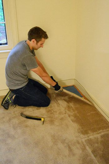 pulling up old carpet by hand