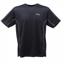 £8.99 - Regatta Mens Stratus Top Black  A quick drying, travel friendly T-shirt with a sporty two tone design. 100% quick dry polyester mesh fabric. Good wicking performance