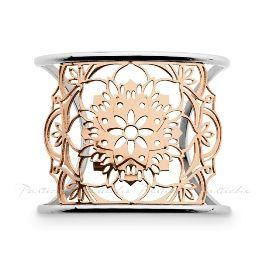 Pastiche Steel/Rose Lotus Cuff Bangle (001-023-07488)