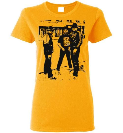 RUN DMC, Classic Hip Hop,New York,Old School Rap,Def Jam,v3, Gildan Ladies T-Shirt