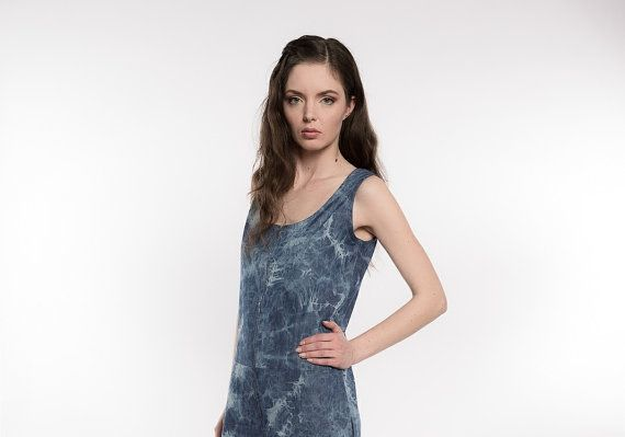 Womens Denim Jumpsuit Indigo Tie dye chambray by ThePoplynBoutique