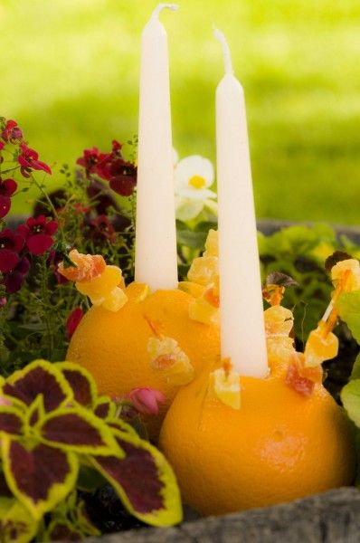 Summer Solstice Celebration - Oranges used as candle holders.