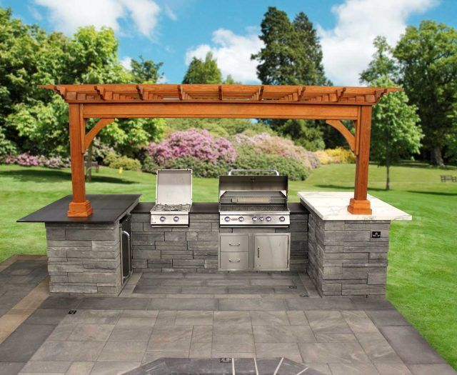 Large U Shaped Custom Island With Grill And Pergola Outdoor Shutters Backyard Grill Island