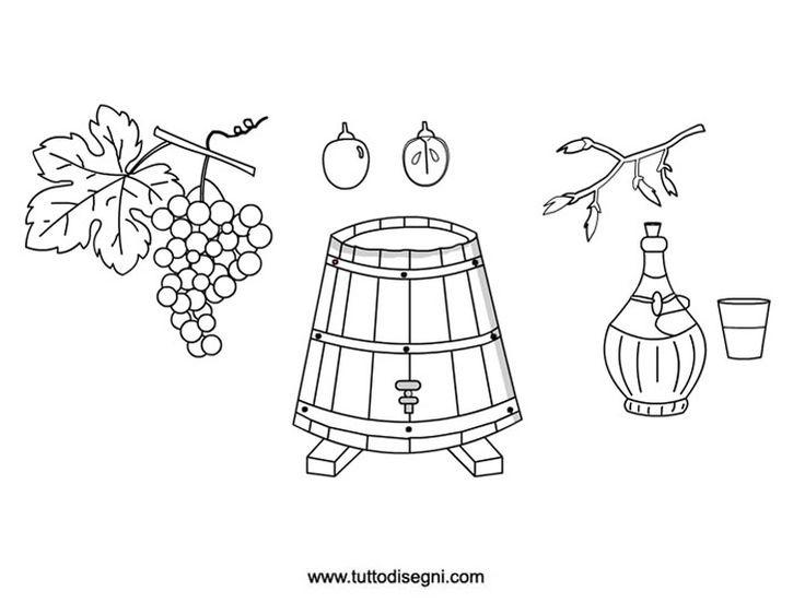 Il ciclo dell'uva da stampare e colorare
