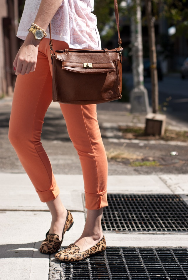 orange skinnies and leopard loafers