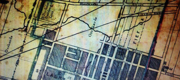 Archives BANQ / André Jobin (1786-1853). Le détail de cette carte nous révèle l'emplacement de grands vergers aux environs du secteur centre ville d'aujourd'hui. Entre autre cet immense quadrilatère limité au Nord par la rue Sherbrooke, au Sud par la rue Ste-Catherine, à l'Ouest par rue de Bleury et à l'Est par l'axe de la rue St-Laurent. Tout ce secteur offrait un terrain en pente douce, axé Sud, idéal pour ce genre de culture. D'autres vergers occupaient un ...