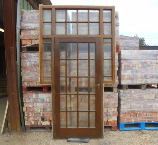 A large fully glazed oak door with a oak frame - Authentic Reclamation