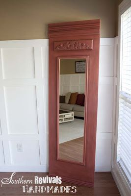French-style Trumeau Mirror - Southern Revivals. Just a cheap Walmart mirror mounted on a beautiful backboard and painted.