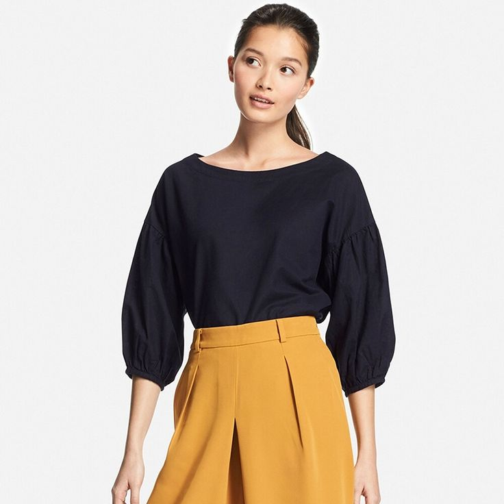 WOMEN Cotton Linen 3/4 Sleeve T Blouse