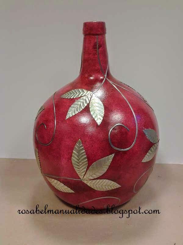 Rosabel manualidades garrafones decorados botellas copas y otras cosas pinterest manualidades - Botellas decoradas manualidades ...