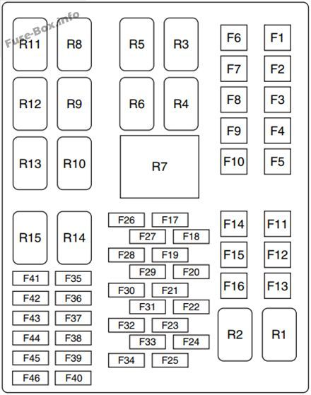 under-hood fuse box diagram: ford fiesta (2012, 2013)