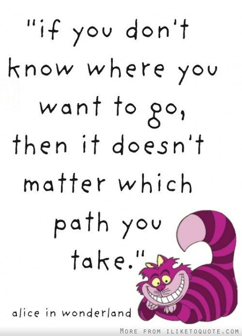 """""""If you don't know where to go, then it doesn't matter which path you take.""""  - Alice in Wonderland"""