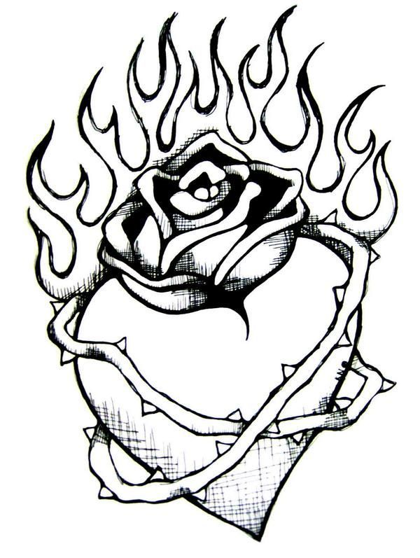 Heart Drawings With Flames Drawings Of Hearts On Fire Heart Drawing Fire Heart Heart Coloring Pages