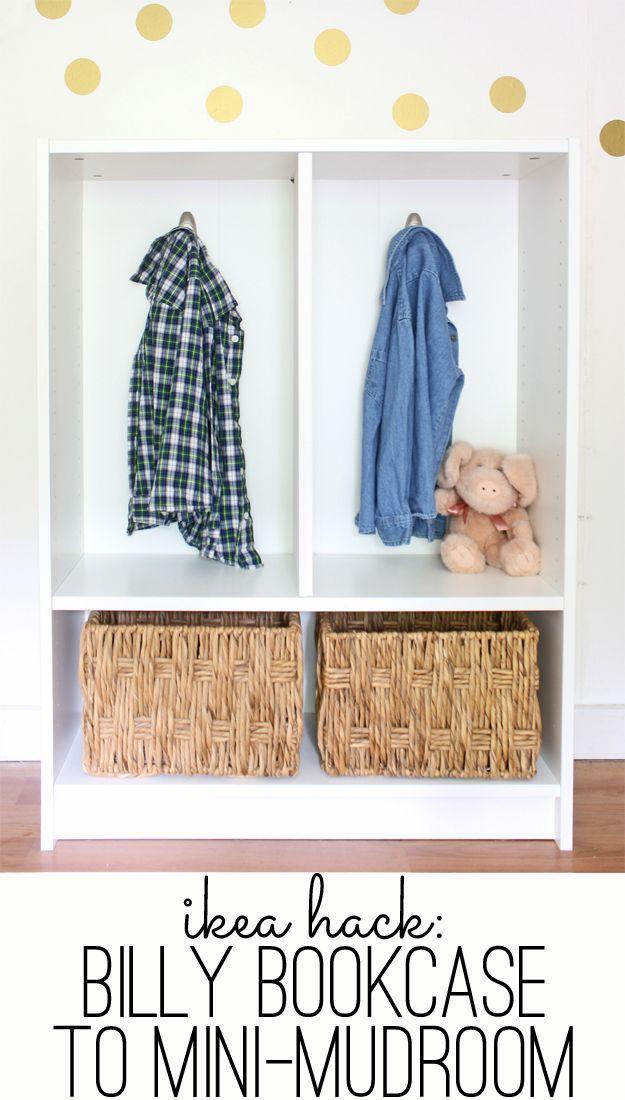 Ikea Hack Billy Bookcase To Mini Mudroom Ikea Hack