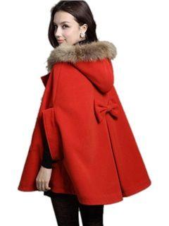 ルーズバットスリーブ毛皮の襟のフード付きの女性のケープ