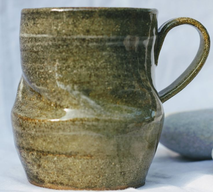 Pottery Mug, Stoneware clay,hi fired, reduction fired-multi tone effect, slip decorated, Microwave and Dishwasher-safe, Wheel-Thrown by FireonClay on Etsy