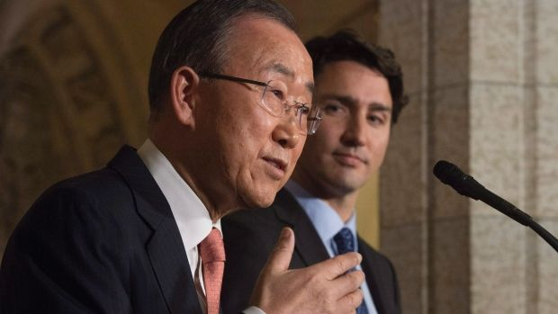 Prime Minister Justin Trudeau is travelling to New York City on Wednesday where he will meet with UN Secretary General Secretary General Ban Ki-moon, left, to reiterate Canada's support for the United Nations and to promote women's rights and gender equality.