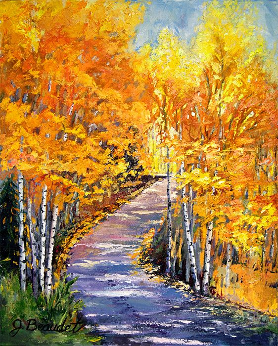 Original Oil Painting Landscape Trees Birch Fall Colors