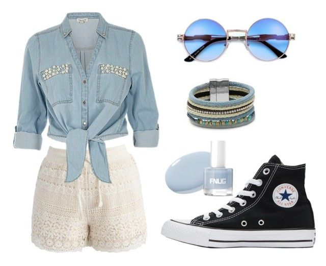 """Blue Denim"" by mysticrosehill on Polyvore featuring Chicwish, ZAK, Converse and Design Lab"