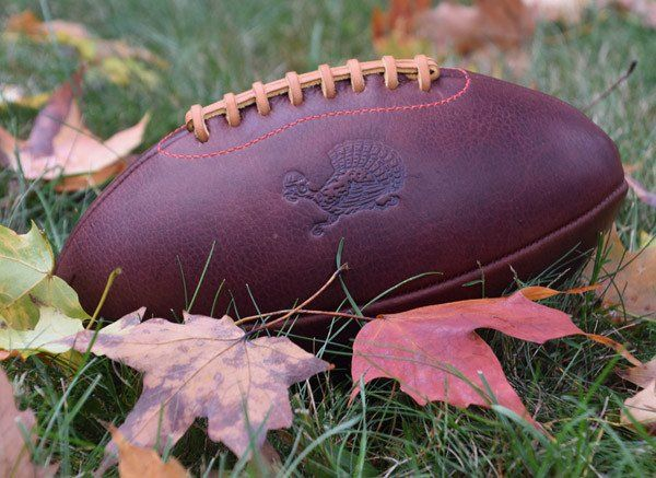 Product:The Official Football of Thanksgiving.  ORDER EARLY! Nov. 17th is the last day to order for Thanksgiving delivery. Thanksgiving and football are made for each other, so at Leather Head Sports we teamed with noted artist/designer Jon Contino to create a seasonal Thanksgiving Turkey football. Based on our Handsome Dan, each ball is embossed with a Contino designed running turkey. Intended to be an heirloom that makes its' appearance during family Thanksgiving football games. ...