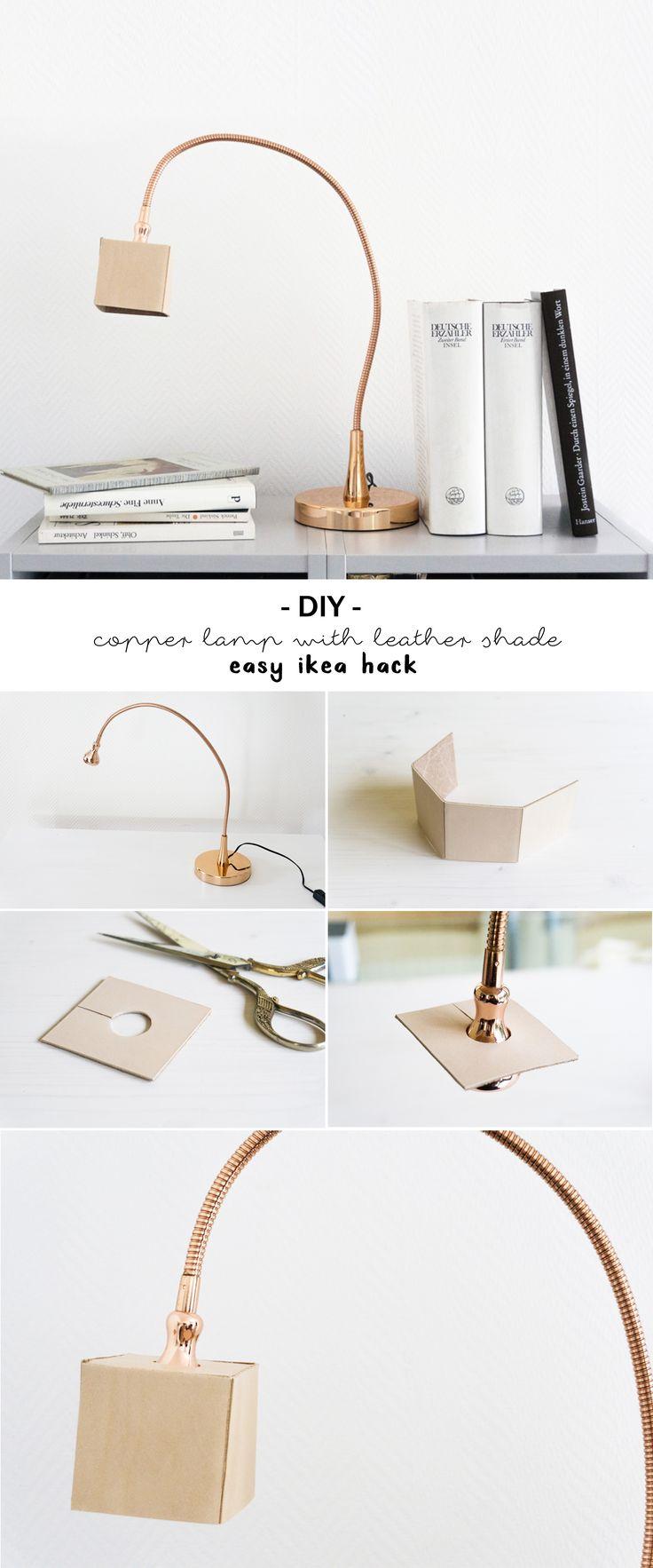 Elegant Licht u Leder Lampe mit Kupfer und Naturleder