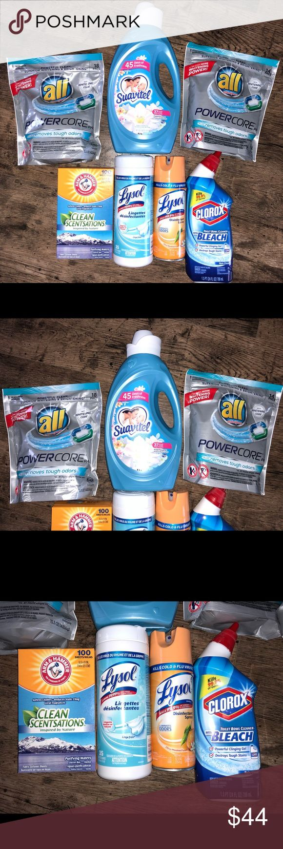 Household Laundry Cleaning Supplies Bundle /Lot 7 Piece Lot Household Laundry and Cleaning Supplies Bundle / Lot!  Bundle Includes:  (2) Packs ALL Powercore Detergent Pods         (1) Suavitel Fabric Softener  (1) Box Arm & Hammer Clean Scentsations       Dryer Sheets  (1) Lysol Disinfectant Wipes  (1) Lysol Disinfectant Spray  (1) Clorox Toilet Bowl Cleaner w/ Bleach       Clinging Gel  Please note that we sell on three different venues, so ALL of our items are limited time offers and are…