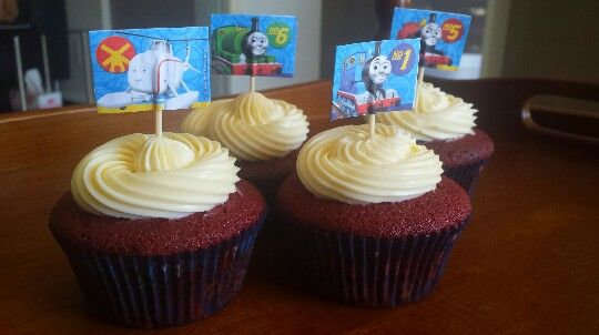 Thomas the Tank Engine Red Velvet Cupcakes