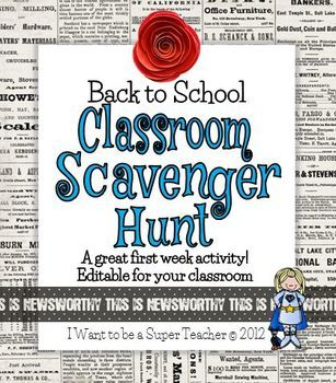 Classroom Scavenger Hunt Freebie - Editable too!