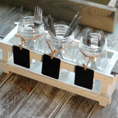 3-Section Wood Flatware Caddy Set with Mason Jars