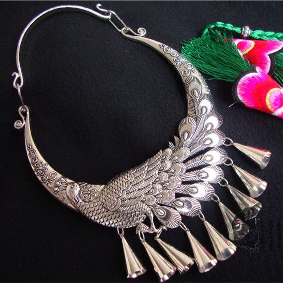 Miao silver jewelry necklace peacock folk style Miao Silver Necklace