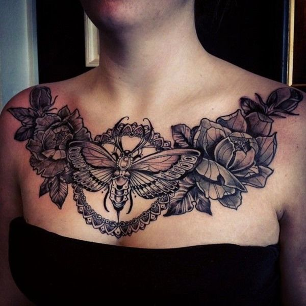Amazing Chest Bee Tattoos for Women